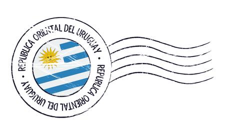 Uruguay grunge postal stamp and flag on white background