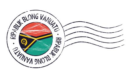 sign post: Vanuatu grunge postal stamp and flag on white background Illustration