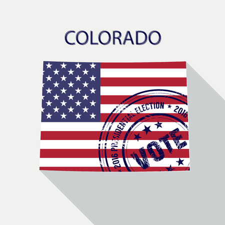 presidential: State of Colorado vector graphic map with flag and presidential day vote stamp