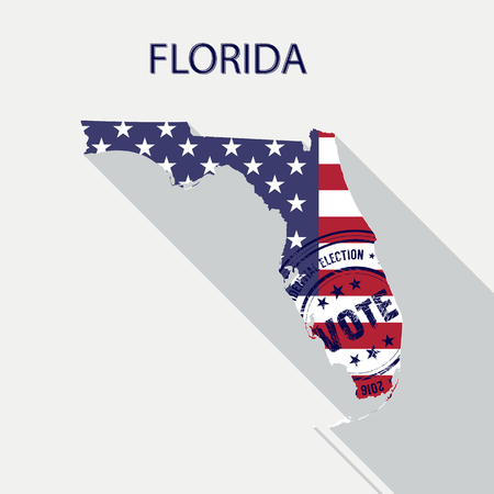 State of Florida vector graphic map with flag and presidential day vote stamp