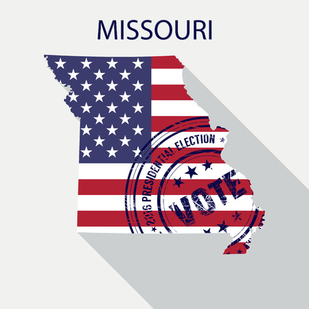 State of Missouri vector graphic map with flag and presidential day vote stamp