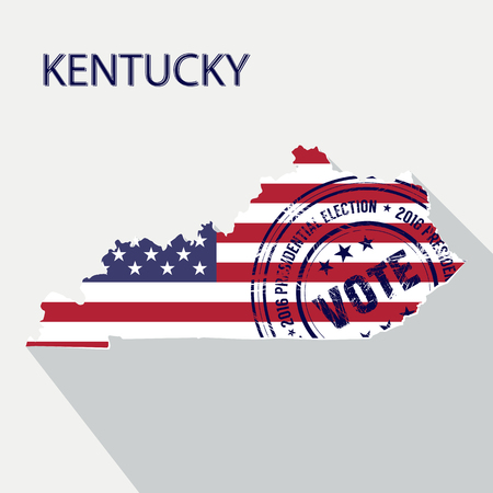parliament: State of Kentucky vector graphic map with flag and presidential day vote stamp Illustration