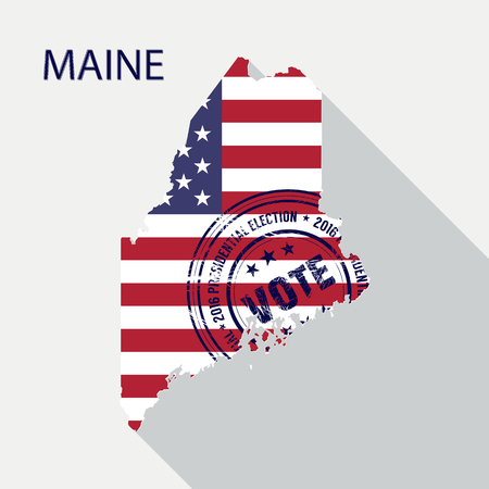 State of Maine vector graphic map with flag and presidential day vote stamp Illustration