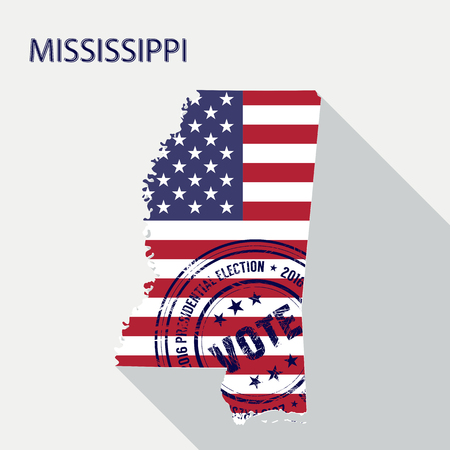 presidential: State of Mississippi vector graphic map with flag and presidential day vote stamp