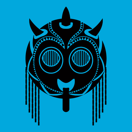 traje mexicano: Tribal mask design, abstract art