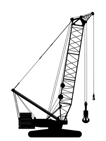 Crawler crane silhouette over white background