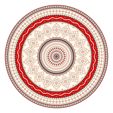 Traditional Romanian round decorative element, vector template Illustration