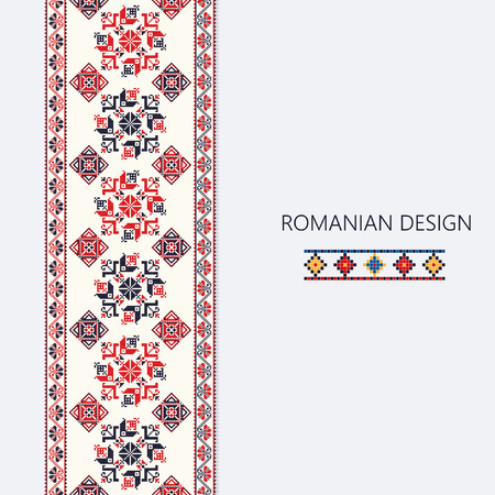 Ornamento decorativo con design tradizionale rumena, bordo verticale senza soluzione di continuità Archivio Fotografico - 78771227