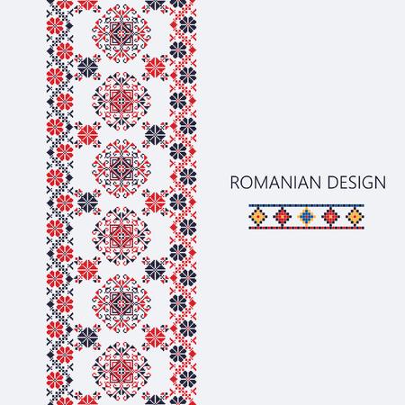 Decoratief ornament met traditioneel Roemeens ontwerp, naadloze verticale grens Vector Illustratie