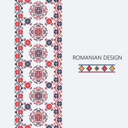 Ornamento decorativo con design tradizionale rumena, bordo verticale senza soluzione di continuità Archivio Fotografico - 78769359