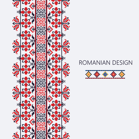 Dekorative Verzierung mit traditionellem rumänischem Design, nahtlose vertikale Grenze Vektorgrafik
