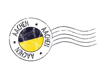 Aachen city grunge postal rubber stamp against white background Illustration