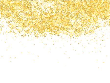 luster: Golden glitter shower on white background