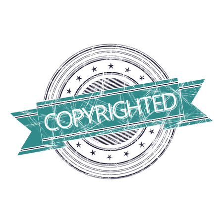 copyrighted: Copyrighted grunge rubber stamp on white
