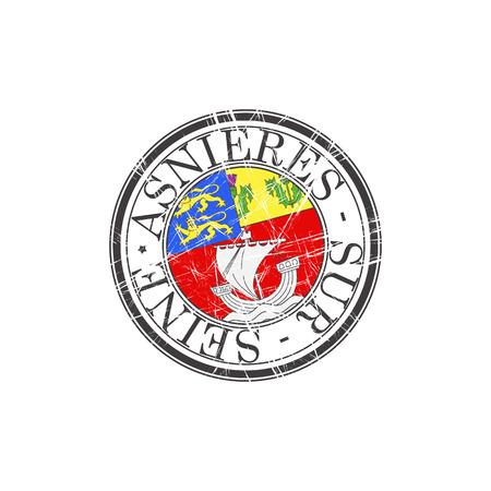 popular: Asnieres sur Seine city grunge rubber stamp on white