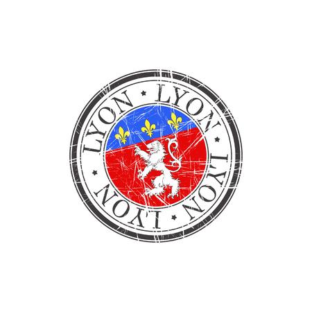 Lyon city grunge rubber stamp on white Illustration