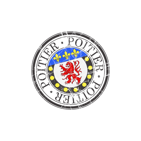popular: Poitier city grunge rubber stamp on white