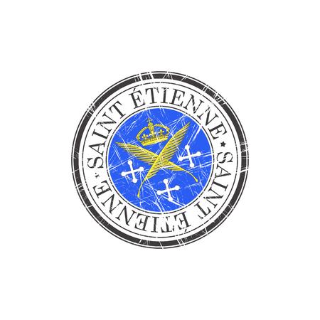 popular: Saint Etienne city grunge rubber stamp on white