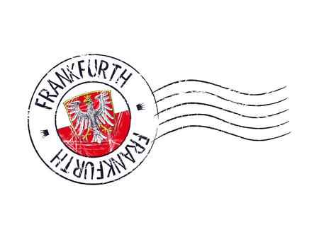popular: Frankfurth city grunge postal rubber stamp against white background