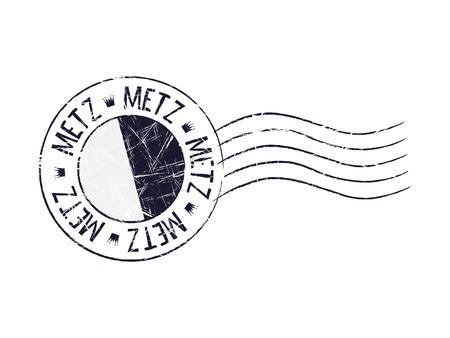 popular: Metz city grunge postal rubber stamp against white background