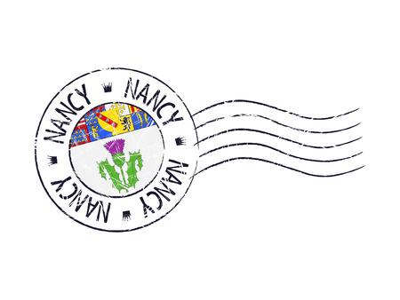 popular: Nancy city grunge postal rubber stamp against white background Illustration