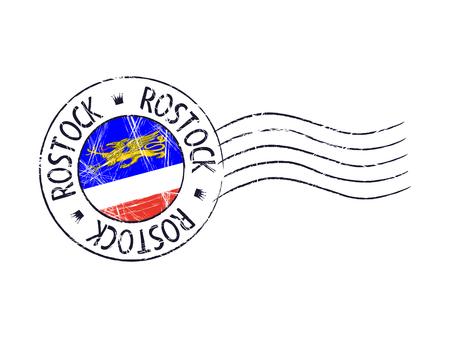 popular: Rostock city grunge postal rubber stamp against white background