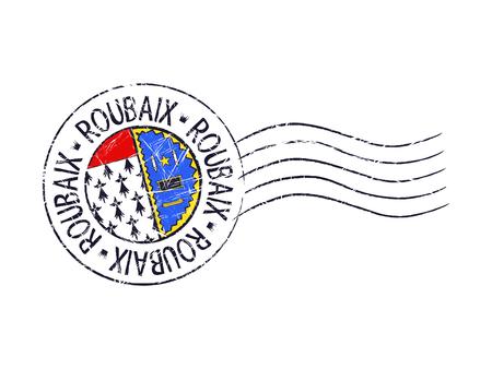 old stamp: Roubaix city grunge postal rubber stamp against white background Illustration