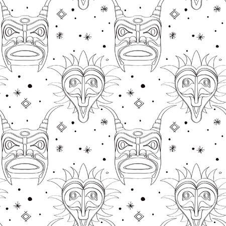 Seamless outline pattern with tribal masks from various cultures. Illustration