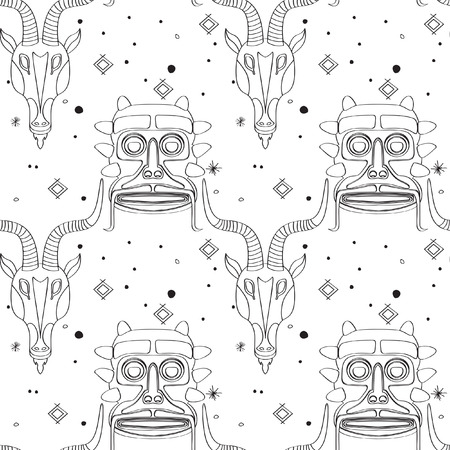 Seamless outline pattern with tribal masks from various cultures. Hand drawn design for fashion, textile, fabric, wrapping paper, tiles, website wallpaper, background. Illustration
