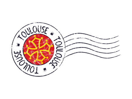 toulouse: Toulouse city grunge postal rubber stamp against white background