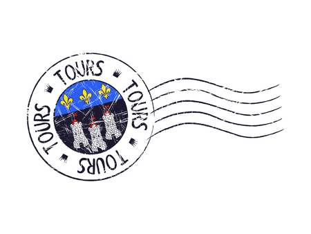 popular: Tours city grunge postal rubber stamp against white background