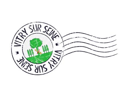 popular: Vitry sur Seine city grunge postal rubber stamp against white background