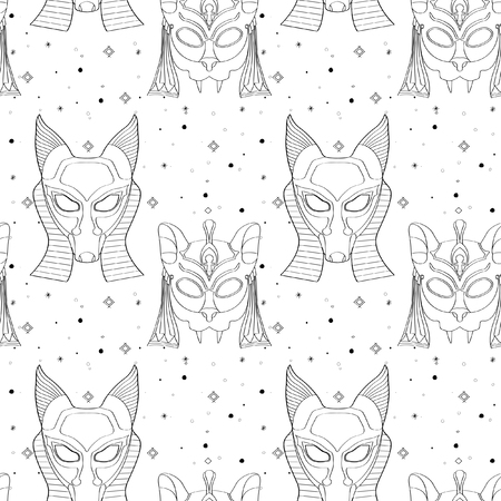 Seamless outline pattern with tribal masks in black and white colors. Hand drawn design for fashion, textile, fabric, wrapping paper, tiles, website wallpaper, background. Illustration