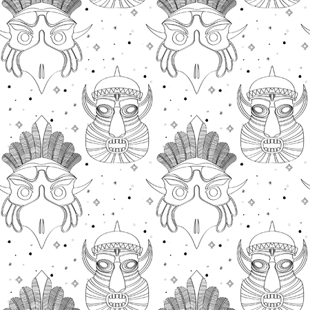 Seamless outline pattern with tribal masks in black and white colors.