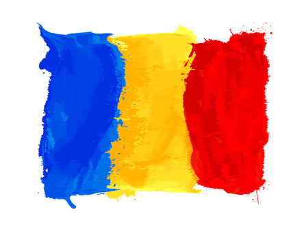 Romanian watercolor flag, vector icon on white Illustration