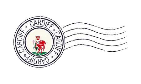 Cardiff city grunge postal stamp and flag on white background