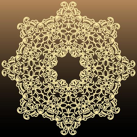 Vintage rich symmetrical round element on a dark background vector illustration Çizim