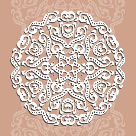 円形の飾り, レーザー切断。グリーティング カードや結婚式への招待状の装飾的な背景は。ベクトル図