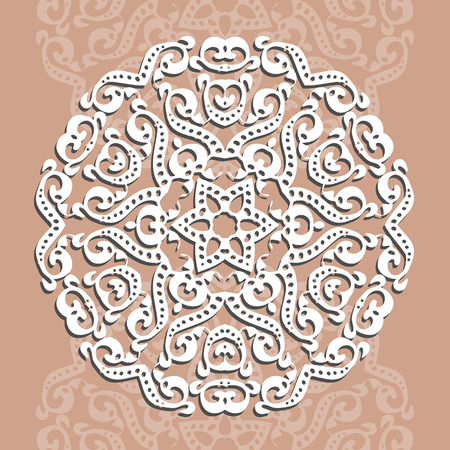 Circular ornament, laser cutting. Decorative background for a greeting card or an invitation to a wedding. Vector illustration