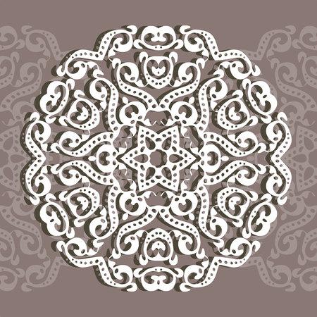 円形の装飾品、レーザー切断。グリーティングカードや結婚式への招待状のための装飾的な背景。ベクトルイラスト  イラスト・ベクター素材