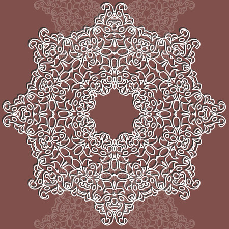 Vector lace round pattern. Mandala with ornamental flowers. Decorative element for design and fashion. Lacy vintage ornament Ilustracja