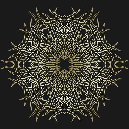 Round Ornament on Dark Background. Template of Decorative Frame. Banco de Imagens - 92445684