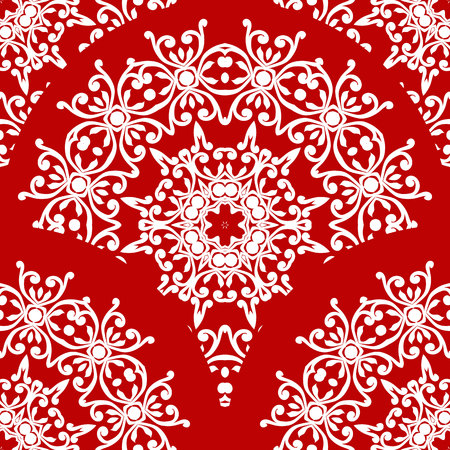 A Seamless oriental ornament on red background. Can be used as a pattern for textiles, a background for the Veb design, in print.