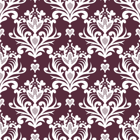 A Vector seamless floral damask pattern. Rich ornament, old Damascus style. Royal victorian seamless pattern for wallpapers, textile, wrapping, wedding invitation. Damask woman pattern. EPS8