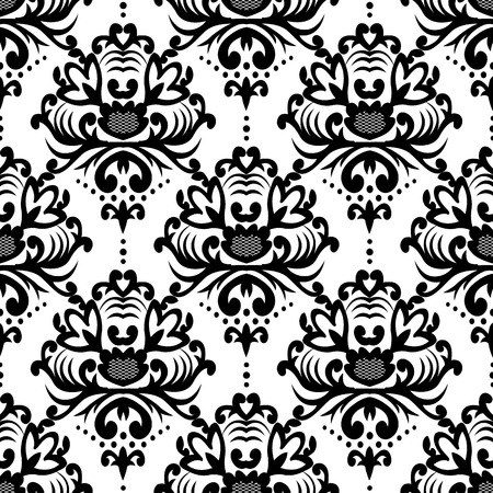 Vector floral damask pattern. Rich ornament, old Damascus style. Royal Victorian pattern for wallpapers, textile, wrapping, wedding invitation. Damask woman pattern.