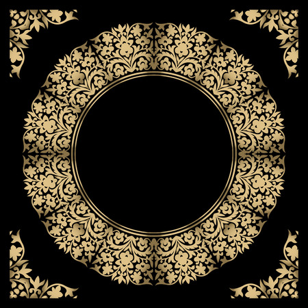 Vintage gold background, vector square ornamental frame with place for text. Can be used for documents, book cover, album, menu, poster, certificate. 向量圖像