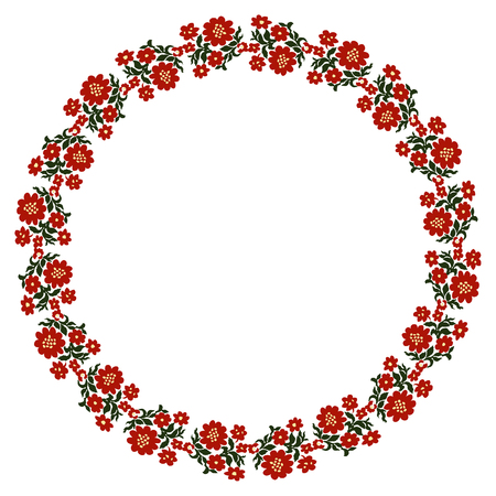 Flower Frame, Summer wreath with place for inscription in the middle, hand-painted on paper. Green, red Floral border for Greeting Card, Wedding postcard or invitation, botanical elements