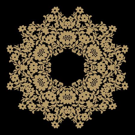 Handmade lace doily. Beautiful elegant vintage knitted lacy napkin. Wedding table decoration or invitation concept. Round lace pattern. Decorative element, EPS 8. Illustration