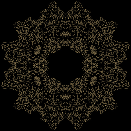 Handmade lace doily. Beautiful elegant vintage knitted lacy napkin. Wedding table decoration or invitation concept. Round lace pattern. Decorative element, EPS 8. 向量圖像