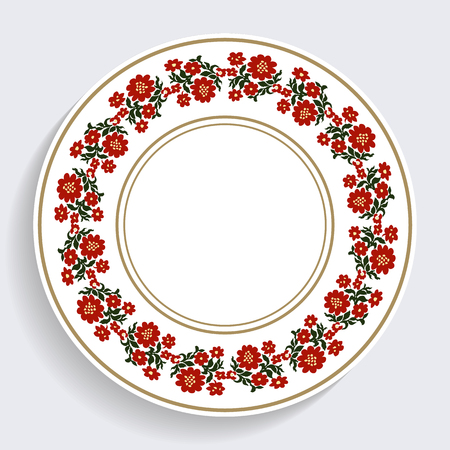 Decorative plate with a circular pattern. Blue background. Vector illustration. 向量圖像